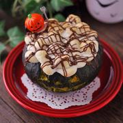 ジャック・オ・ランタンケーキにマシュマロをのせてスモア風にしてみたら、ハロウィンな雰囲気になりました♪