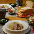 圧力鍋で時短、キャベツと豚ブロック肉のやわらか煮