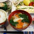 ■簡単に【菜園野菜と卵焼きの朝ご飯】です♪