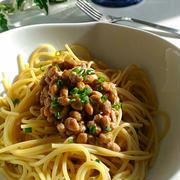 《レシピ有》いつもの納豆ぐるぐるパスタ、水風船、英語レッスン。