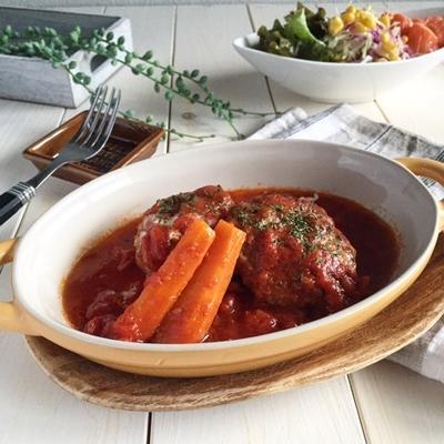 お豆腐入りで*柔らかぁ〜な♪トマト煮込みハンバーグ♪