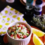 セロリとミニトマトと鶏ささみのレモンバジルマヨ和えサラダ