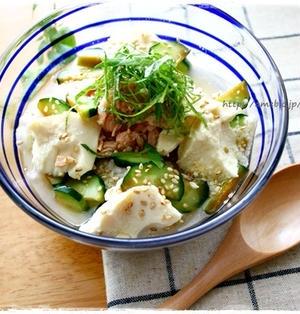 胡瓜の常備菜deツナの冷や汁と豚しゃぶのペペロンネギ塩だれ弁当~(人´∀`)