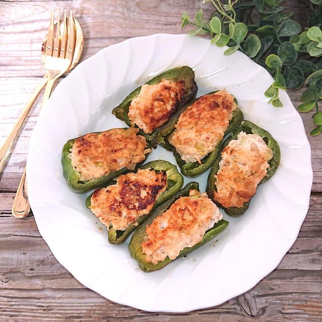 ブロッコリーの茎とえのきと鶏肉のピーマン肉詰め(鶏胸肉、ダイエット、節約)