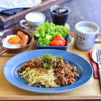ミートスパの朝ごはん ✻ 乾麺を生麺風に