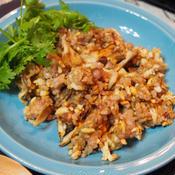 鶏ひき肉と舞茸の玄米チャーハン ガラムマサラ風味