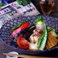 茹で鶏と揚げ浸し野菜の素麺