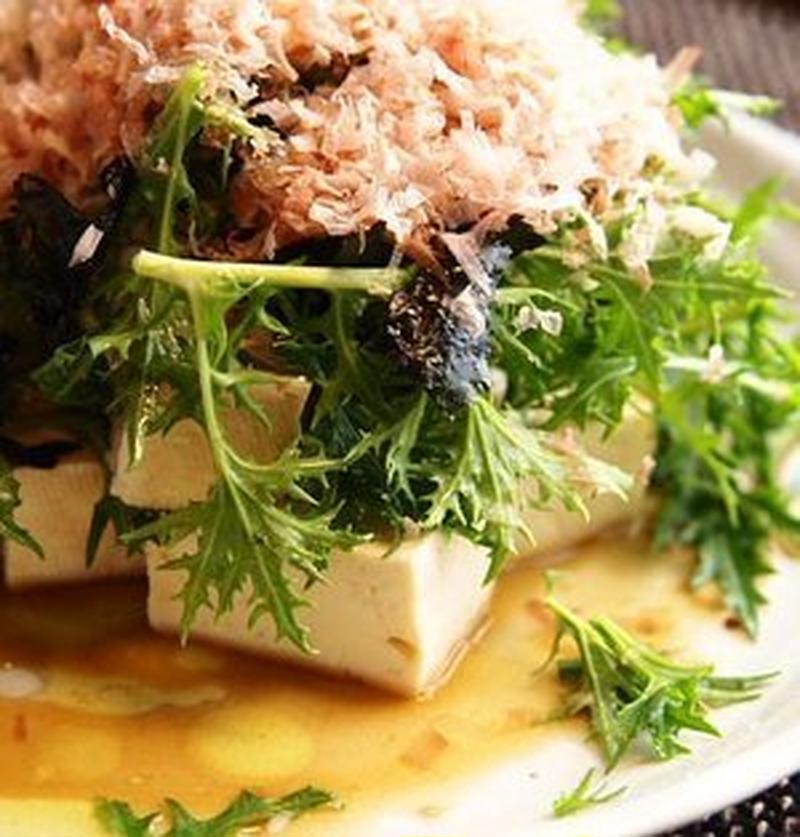 シャッキリ食感がおいしい!水菜×豆腐のサラダレシピ