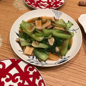 10分で!青梗菜とエリンギのオイスターソース炒め