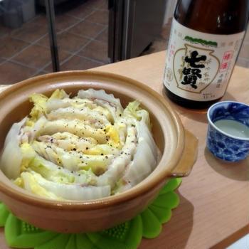 七賢×白菜と豚肉のミルフィーユチーズ鍋
