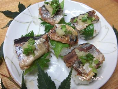 さんまかば焼き缶で手まり寿司