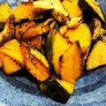 かぼちゃと生シイタケのニンニクバター醤油炒め