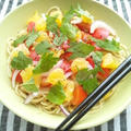 甘夏と鶏ハムの、柚子胡椒の和風ソースの和えパスタ