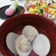 《レシピ有》2021ひなまつり☆はまぐりのお吸い物、三色団子。