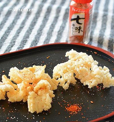 お餅とお米のあられ♪七味唐辛子の辛みと旨みで減塩!