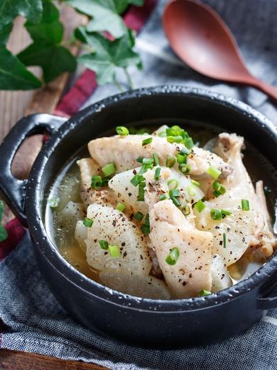 鶏大根のうま塩にんにくスープ煮【#作り置き #簡単 #時短 #節約 #煮るだけ #主菜 #スープ】