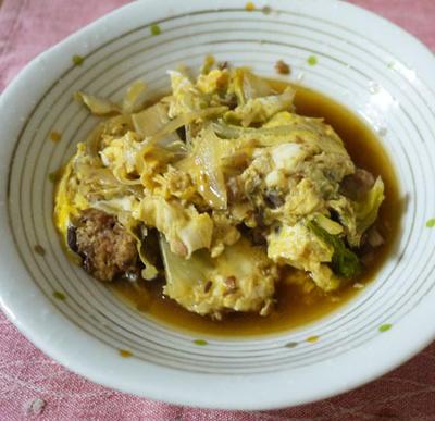 サバ缶と野菜の卵とじ