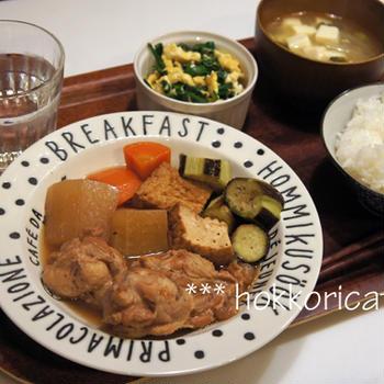(夕飯) 手羽元と野菜の煮物