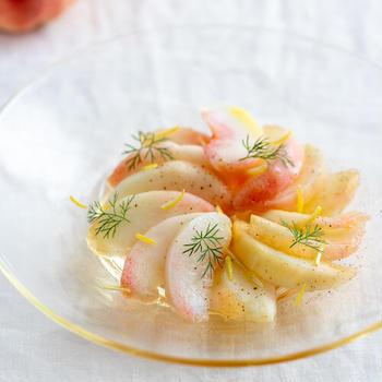 桃とレモンのカルパッチョ。何度でも食べたい!爽やかな前菜。【料理家 いがらしかな】