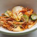おうちたこ焼きと手作りキムチ/白菜とハムの塩こんぶパスタ(´・ω・`)