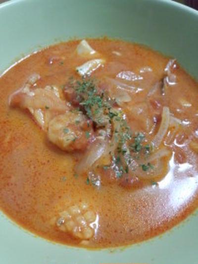 【減圧鍋:ロップタック】 シーフードトマト煮(クリームスープ)