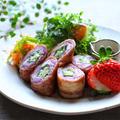 紫キャベツとオクラのチーズ肉巻き