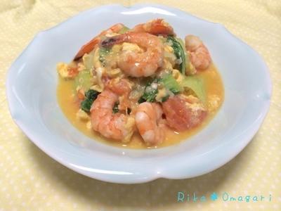 手作り料理で自分を大切にする*トマトとえびと卵の炒め物♪