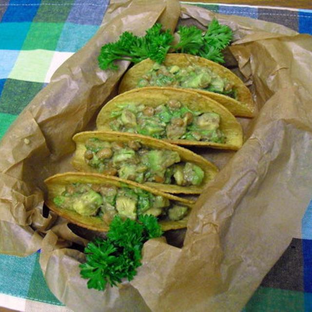 山葵ぴりり納豆とアボカドのサクサクタコス