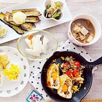 秋旬レシピ♡キノコとうずら卵のお稲荷さん