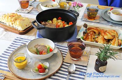 塩豚と春野菜の蒸し焼きと自家製パンで春パーティ~!!