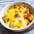 残ったポテトフライとチキンのチーズ焼き