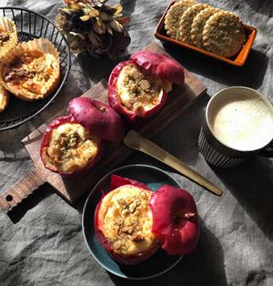 焼きりんごカップのチーズケーキ