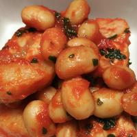 きのうのおつまみ  大豆と豚ばらのトマトジュース煮