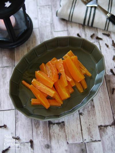 スパイスと旬の食材で楽しむ秋レシピ|レンチン4分で出来る人参レシピ|【クローブ香る大人のにんじんグラッセ】|お弁当|付け合わせ|もう1品|