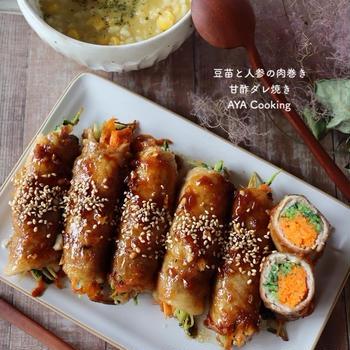 【豚肉レシピ】まつげの悩みとスーパーセール購入品と豆苗と人参の肉巻き甘酢ダレ焼き