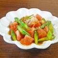 和えるだけの簡単・副菜 トマトとアスパラのおかか醤油和え