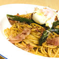 【おうちレストラン】アスパラの和風温玉パスタの作り方【旬をおいしくパスタで】 by つくるさん