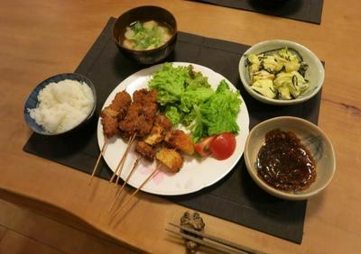 豚ロースと玉ねぎの串カツの晩ご飯 と ヤブデマリの花♪
