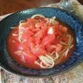 ダブルトマトの冷たいスープパスタ