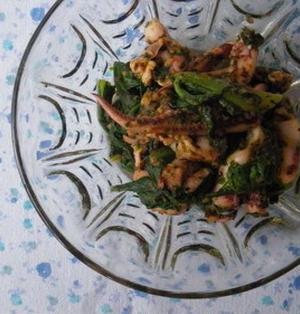 ゲソと青梗菜のバジル炒め