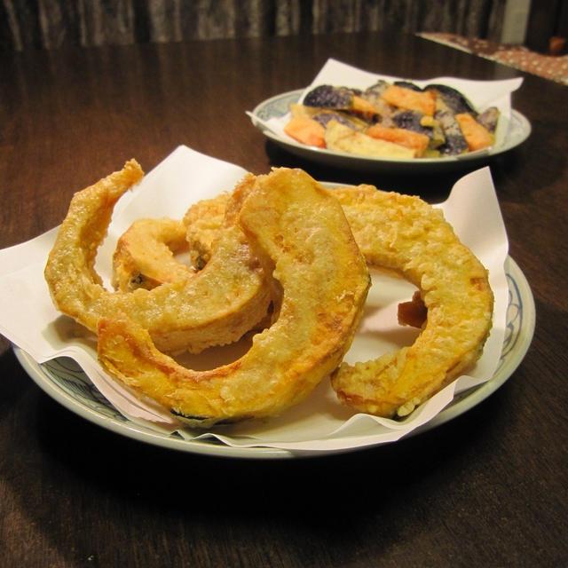 かぼちゃの天ぷらと蕎麦
