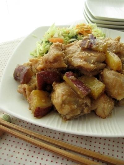 鶏肉とサツマイモの照り焼きガーリック風味