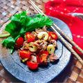 5分でサッパリ美味しい♪砂肝とトマト&セロリのわさび醤油和え〈夏バテ回避〉