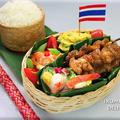 タイ風甘辛豚串と大根ソムタムのおこわ弁当