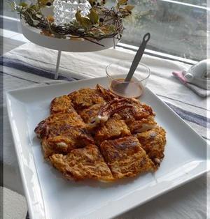 キムチと餅のチヂミ