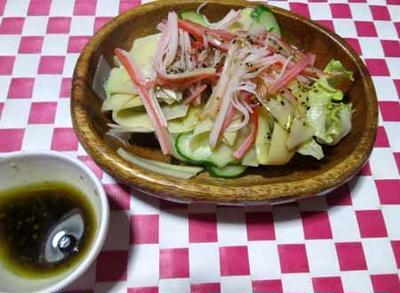 お手軽♪ ポン酢ドレッシングde筍とカニカマのサラダ