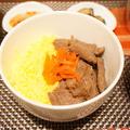 味付きジンギスカンと錦糸卵をのせた2色丼(*´▽`*)