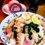 白菜と赤かぶのお漬物&クレソンの和風スパゲッティ ~ 百合根と