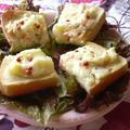 コンビニ食材で、ポテサラ柚子こしょうカナッペ