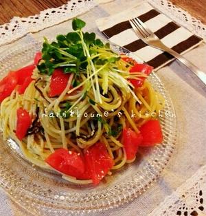 和えるだけで美味しくできる♪塩昆布とトマトの和風冷製パスタ(*´▽`*)